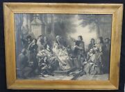 Antique Victorian Large European Etching Of A Court Yard Scene 46 X 34 Epic