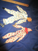 Pair Vintage Marionettes Two Clowns Red/ Blue Dots Composition Heads