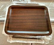 Lot 6 Vintage Delta Airline Serving Trays New Old Stock Plastic Wood Grain Mint