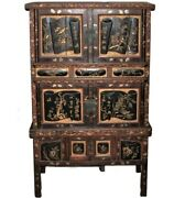 Antique Fine Chinese Carved Wedding Armoire Storage Cabinet With Keys