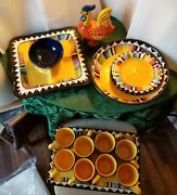 17pc Elite /sierra Sol Festive Serving Platters / Plates/ Cups/ Mugs And Rooster