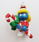 1982 Schleich Smurfette Christmas Ornament Holding Candy Cane Marked Peyo