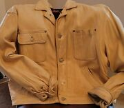 Rare Vintage Polo Country Leather Dungarees Jacket - Size 12
