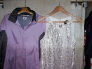 Nwt Womenand039s Sz M Silver Silk White House Black Market Top And Columbia Windbreaker