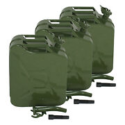 3x Jerry Can 20l Gas Gasoline Fuel Army Army Backup Metal Steel Tank 5 Gallon
