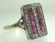 Antique Art Deco 18ct Yellow Gold And Platinum Size O Diamond And Ruby Style 3.1g