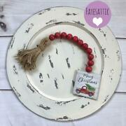 Red Farmhouse Beads, Wood Bead Garland, Farmhouse Accents, Holiday Tiered Tray
