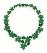 Green Oval Tiny Round Halo 925 Sterling Silver Ivy Studded High Necklace
