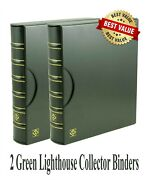 2 Lighthouse Grande Binder + Slipcase For Currency Coins Stamp Collections Green