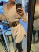 Vintage Cable Knit Sweater Tunic Size L Mother Of Pearl Buttons