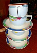 Vintage Set Of 4 Cup And 3 Saucers Potter Touch Cb005 Color Court By Mikasa Japan