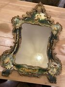 Antique Hand Oil Painting Canvas Wall Mirror 32x22 Excellent Condition.