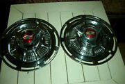 Vintage Pair Custom Chevy 14 Inch Wheelcovers59 Chevy Caps W/ 57 Chevy Spinners