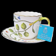 Blind Earl By Royal Worcester Tea Cup And Saucer Set Raised Motif Made In England
