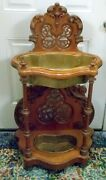 Antique Victorian Walnut Carved Planter Hall Stand French Italian Renaissance