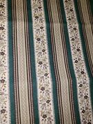 Vintage Sewing Fabric Cotton Stripe Calico Emerald Green Taupe Brown 2.66ydsx45