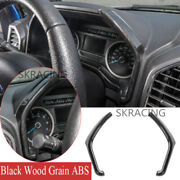 For Ford F150 2015-20 Abs Black Wood Grain Dashboard Instrument Side Strips Trim