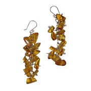 Mexican Chiapas Hand Made Amber Chip Chandelier Earrings