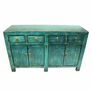 Handicraft Antique Finish Sideboard Blue For Home And Office Furniture