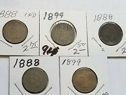Indian Cent Indian Head Penny Lot Of 5 - 1888 1899