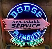 4ft X 4ft Dodge Plymouth Service Neon Sign Custom Made Gas And Oil Freight Ship