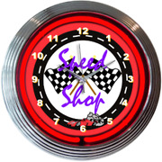 Speed Shop Neon Clock Gas And Oil / Garage Clocks / Gifts For Him / Garage Signs