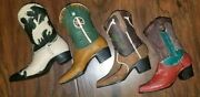 Lot Of 4 Cowboy Boot Miniature Figurines Collectibles New Western Decor Boots