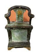 Antique Gracie Chinese Ming Dynasty Tomb Pottery Horshoe Chair Model