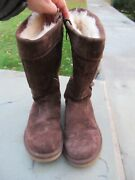Uggs Brown Leather 13 High Boots/ Round Toe/ Lining/ Side Zipper Size 8