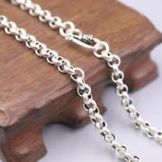 New Pure 925 Sterling Silver 5mm Rolo Link Chain Necklace 22 L