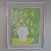 Large Vintage Framed Tile Wall Art Entitled And039and039crazy Daisyand039and039 By Harris Strong