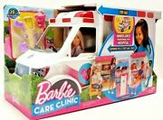 New Barbie Doll Care Clinic Ambulance Transorms To Hospital Doctor Sound Lights