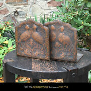 Antique Arts And Crafts Mission Hammered Copper Birds Bookends Roycroft Era