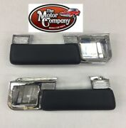 1962 1963 1964 Cutlass 442 Chrome Rear Arm Rest Bases And Black Pads -pair In Stk