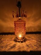 Vintage Amber Glass Retro Table Lamp With Hanging Prisms