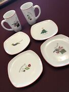 Fitz And Floyd Essentials Merry Christmas Porcelain 2 Cups Mugs 4 Plates