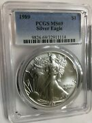 1989 1 American .999 One Ounce Silver Eagle Coin Pcgs Graded Ms69 Top Quality