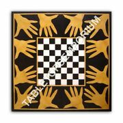 24 Black Square Marble Coffee Chess Playing Game Table Top Inlay Decor E1043