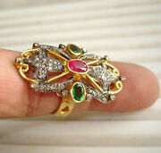 Antique Rings 2.35 Tcw Ruby Emerald Rose Cut Diamond Sterling Silver | Costozon