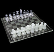 Classic Chess And Checkers With Glass Board Clear And Frosted Pieces New Game Set