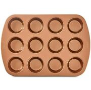 Crux Nonstick Copper 12 Cup Muffin Pan Set Of 2 For 24 Muffins