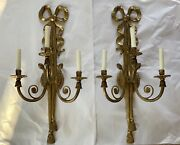 Antique Pair Palatial French Empire Brass Bronze Wall Sconce Sconces 27andrdquo Bow