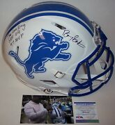 Barry Sanders Signed Lions Full Size Flat White Authentic Pro Speed Helmet 3 Psa