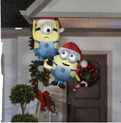5 Ft Hanging Minions With Candy Cane - Minion Christmas Inflatable Gutter/tree