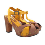 Sandals Womenand039s Heel 3 7/8in Band Crossed Bicolour - G365 Bic Terra