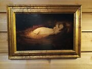 Gregory Fink Oil And Gold Leaf Nude Painting On Board Signed No. 50 Etude