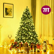 Christmas Xmas Tree 7ft Green 1000 Pines Artificial W/ 300 Led Warm White Lights