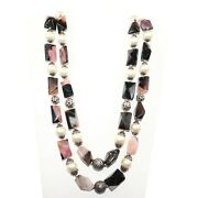 Handmade Sterling Silver Pearl And Agate Gemstone Necklace Vj-1778