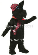 2020 Long Haired Black Scottie Dog Mascot Costume Suits Cosplay Party Game Ad