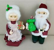 Vintage Trim A Tree Santa And Mrs.claus Paper Mache Gift Bag Candy Cane Topper